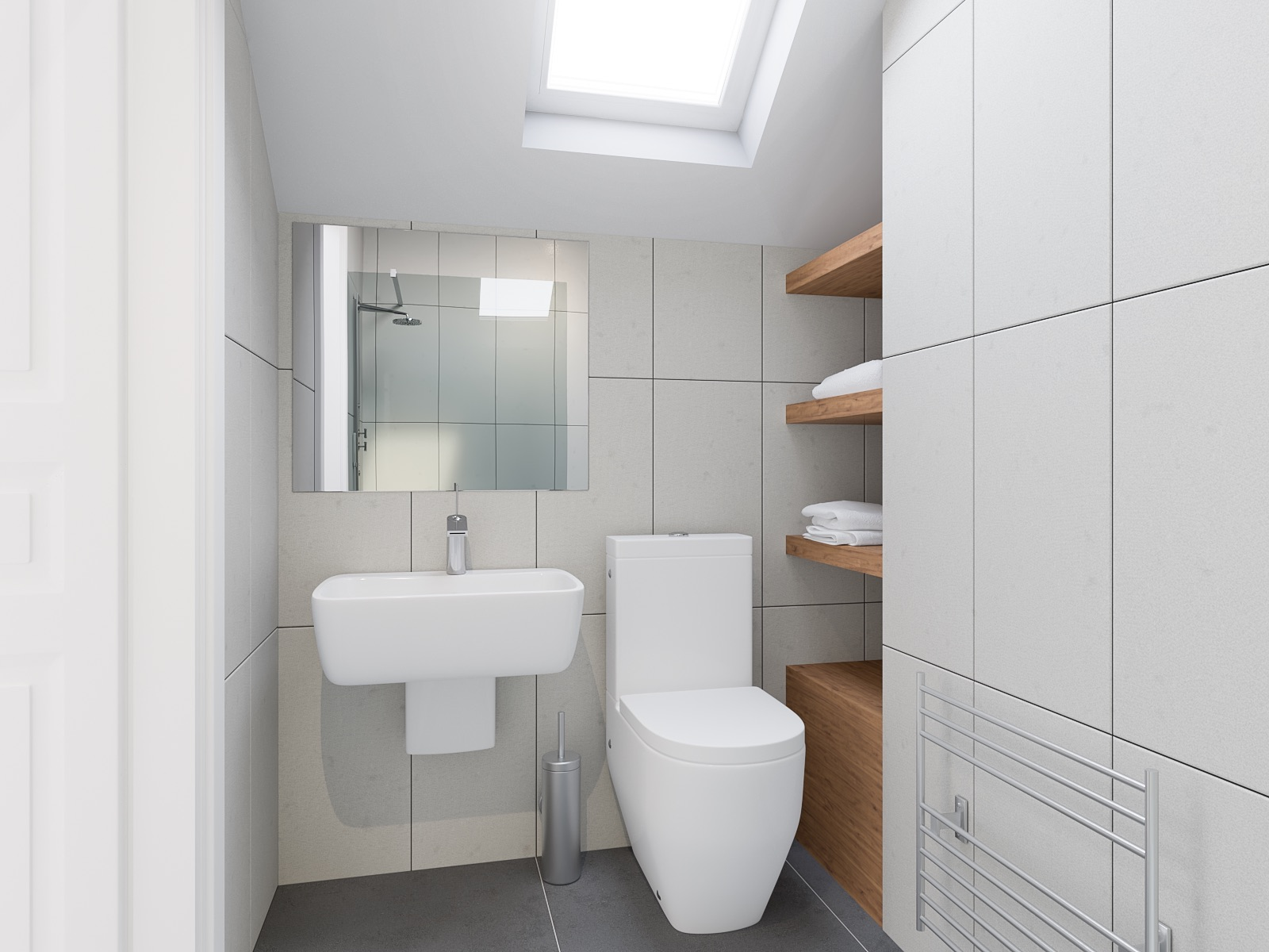 A 3D photo-identical image of a loft conversion en-suite bathrooms in white. Featuring a wall-mounted basin with mirrored vanity over,