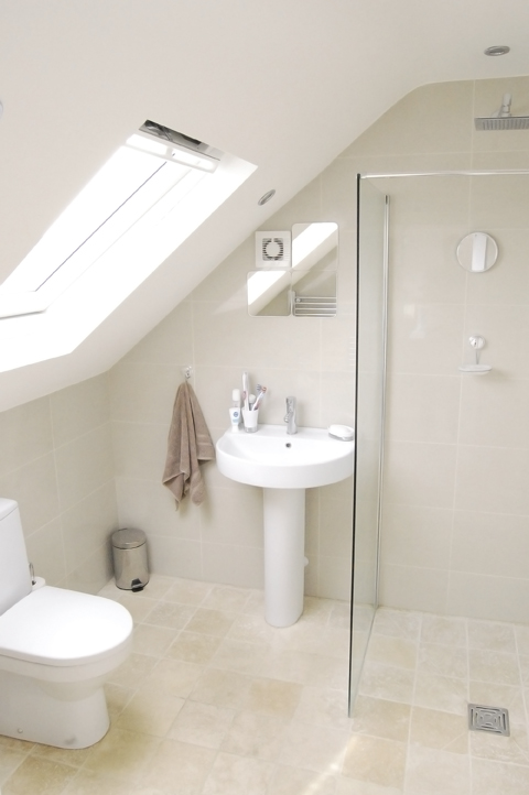 loft conversion bathroom wet room with velux