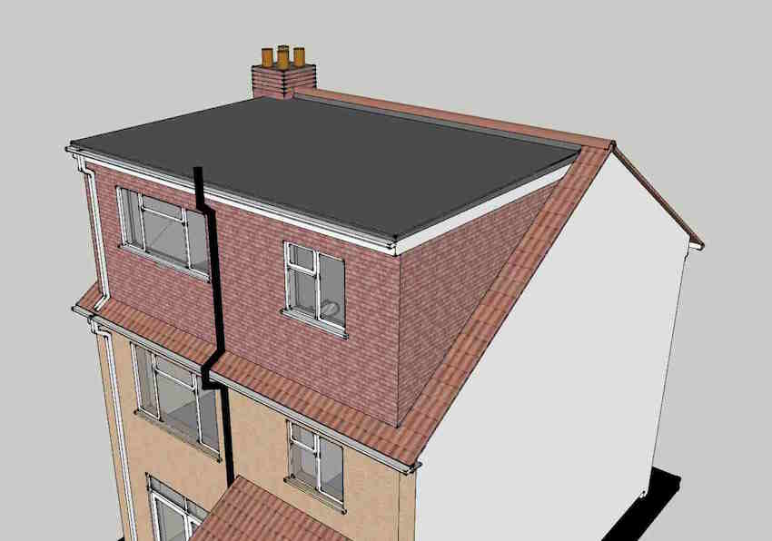Illustration showing a flat roof dormer for a loft conversion on a terraced home