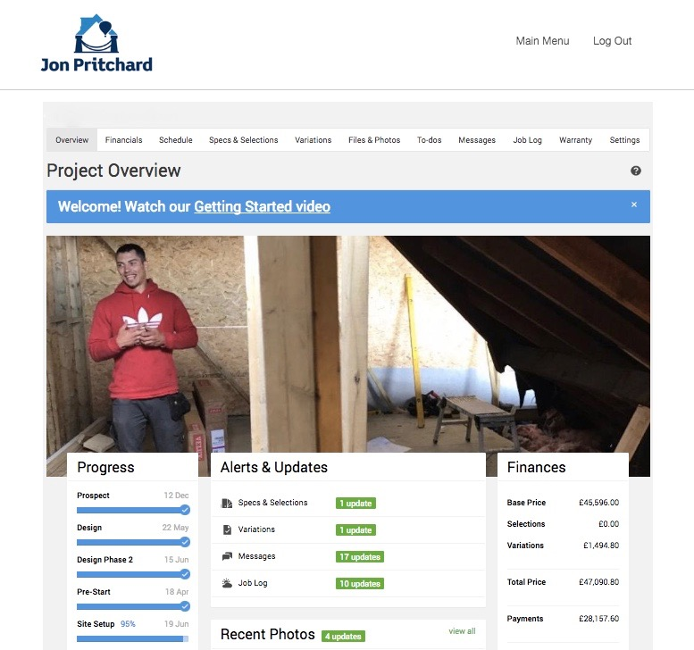 Image of Jon Pritchard's branded Co-Construct construction enterprise resource planning software customer dashboard for a loft conversion project