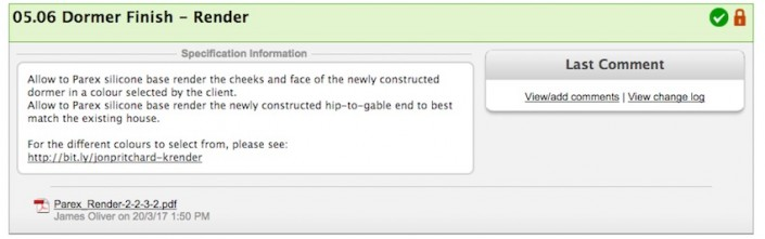 Screen grab of an item from the Specs and Selections page in a construction project within Co-Construct ERP