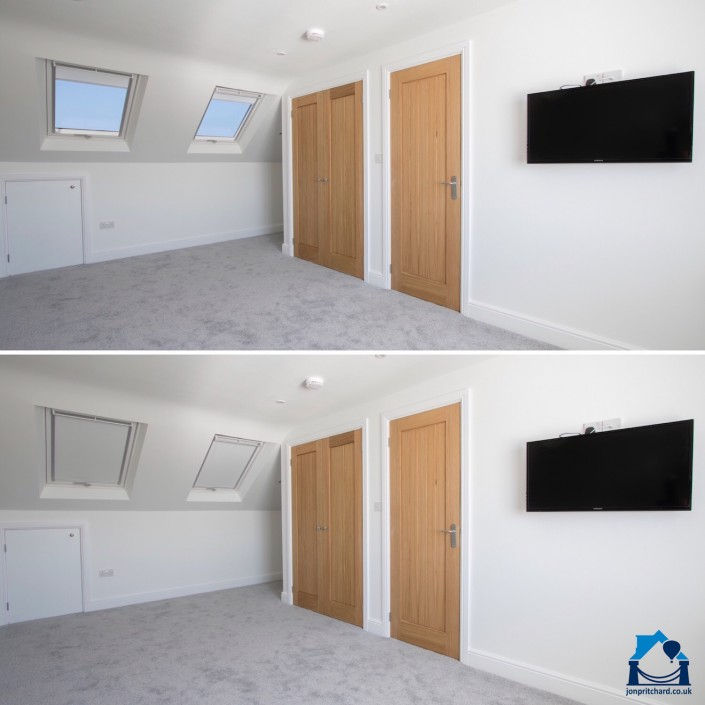 Two identical photos of a loft conversion room one above the other. In the top photo the blinds in the double Velux windows are open, in the bottom on they are closed.