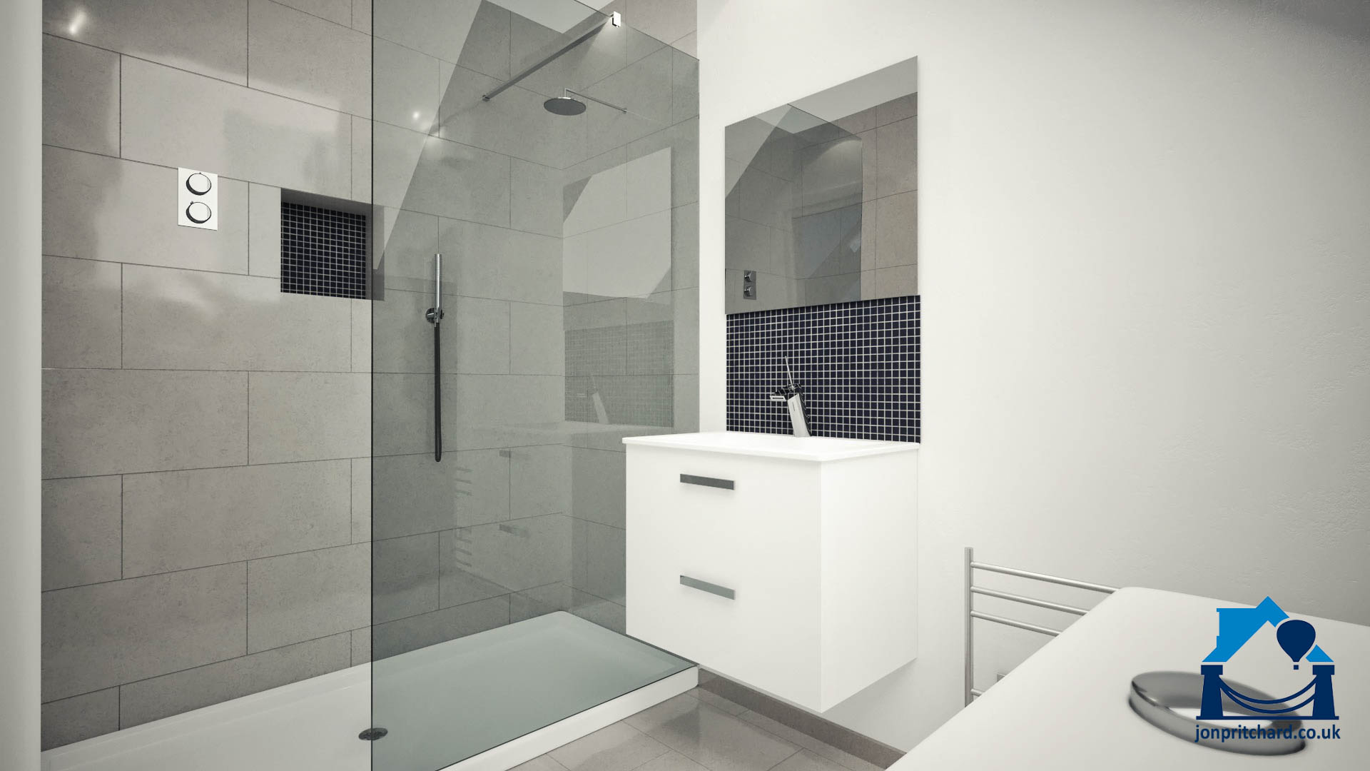 Image of a chic loft shower room featurig double width shower, fixed shower screen in light smoked glass, floading vanity and colours in white, light and dark greys