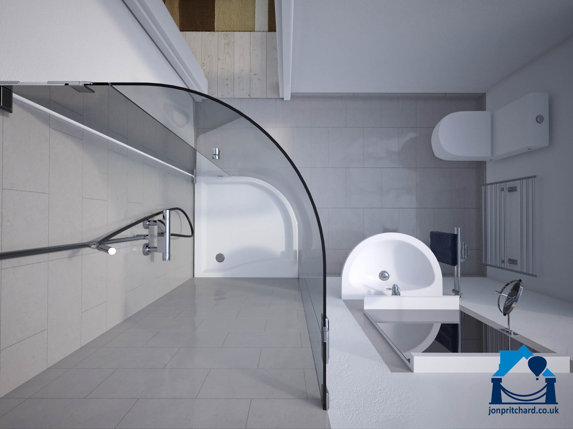 Aerial floor plan view of a small shower room showing curved corner shower unit with curved glass screen, semi-circular basinc and similarly styled loo.