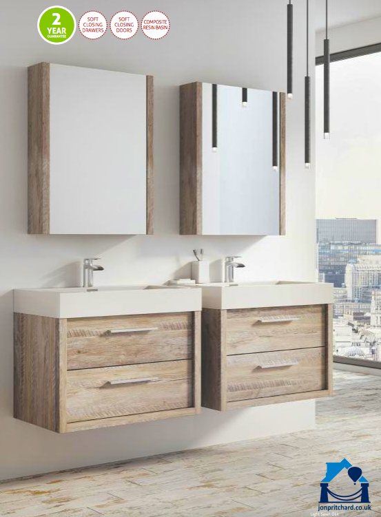 Image of twin wall-hung storage vanities in natural wood with mirrored cabinets over. Title 'Wynford wall mounted bathroom furniture'
