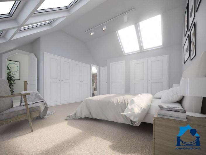 Image of a large, light loft bedroom featuring sloping ceilings with double Velux windows either side.
