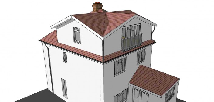 Illustration showing a detached home with loft conversion. Large dormers have been added to the sides and rear, which meet at each corner to create a very large new loft floor to the house.