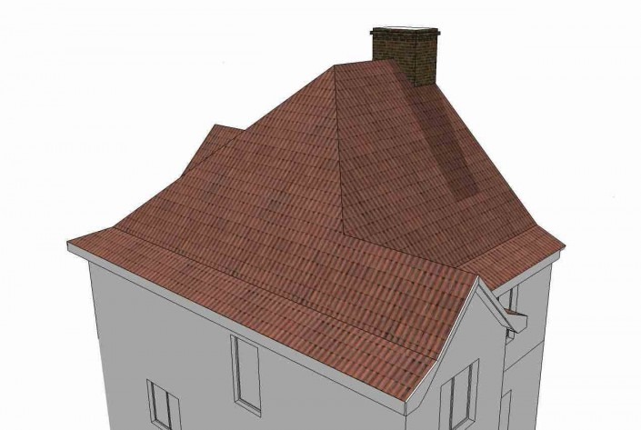 The house roof prior to a hip-end extension.