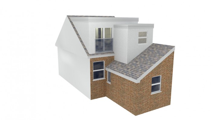 3D image showing a terraced home loft conversion from the rear exterior. The terraced home has a rear extension and the loft has been extended with a flat-roofed dormer across the width of the main roof, and then a further addition above a small part of the rear extension.