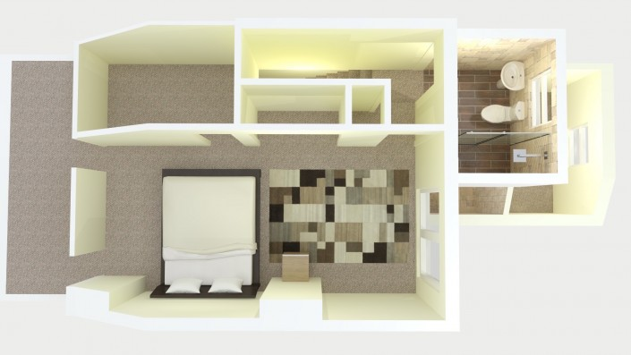 Example floorplan for an L-shaped loft conversion including double bedroom, ensuite and storage.