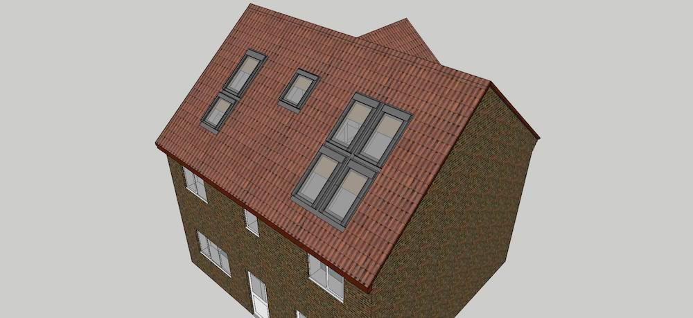 Illustration showing the roof of a house with a Velux-only loft conversion (no dormers)
