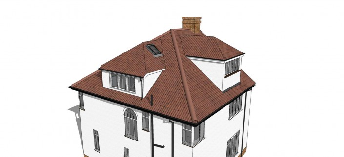 Illustration of a semi detached house with loft extension including side and rear dormer windows. Focus is on the roof structure.
