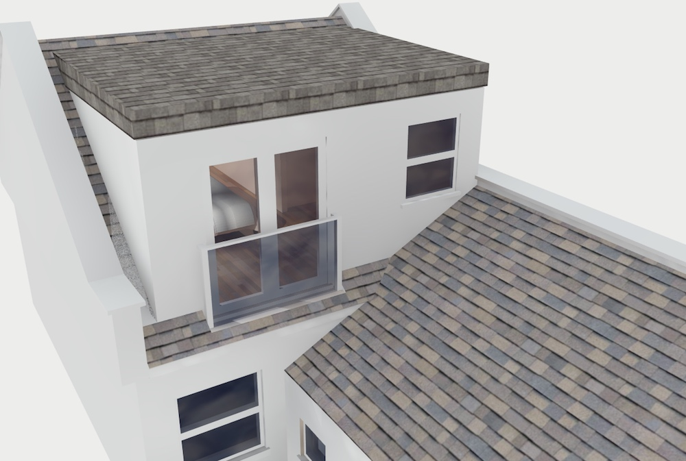 Computer illustration of a terraced flat roofed loft conversion including double doors and a glass juliet balcony