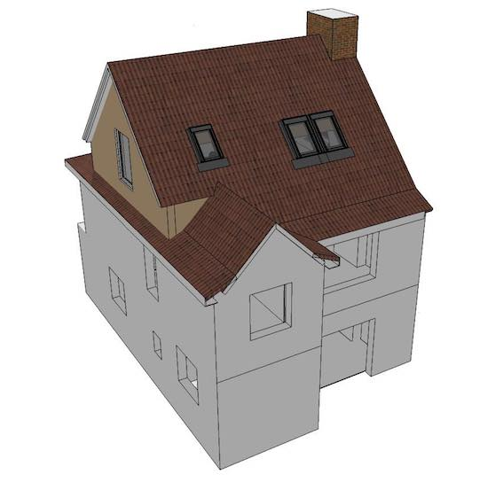 Illustration showing a loft conversion roof with Velux windows only