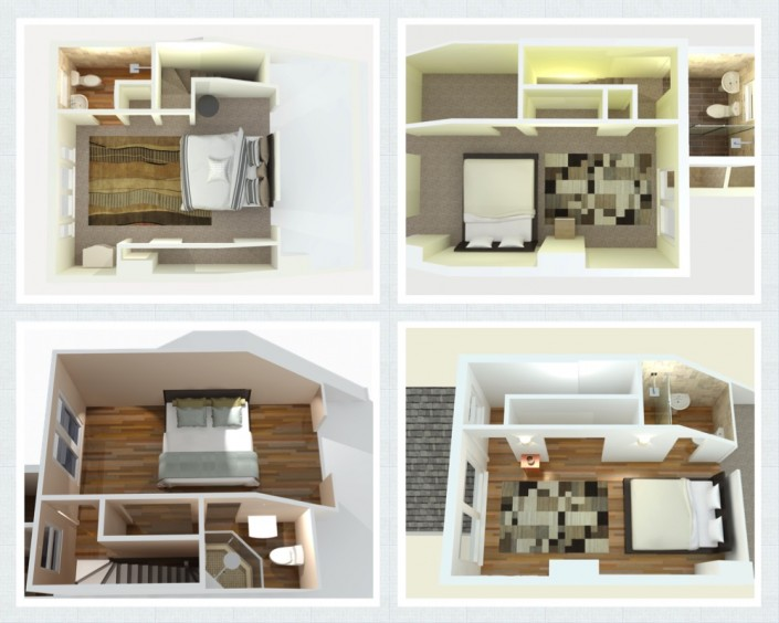Grid image of four 3D floor plans for terraced loft conversions, each including a bedroom and a shower room, with built-in storage