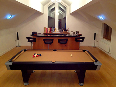 Loft conversion ideas - bar with pool table