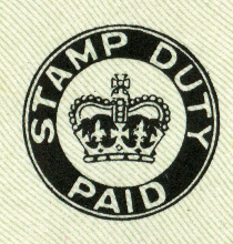 Image of Stamp Duty paid mark that was on British cheques from 1956. Black circle (here on a greenish background) stating Stamp Duty Pait with a black image of the crown in the middle