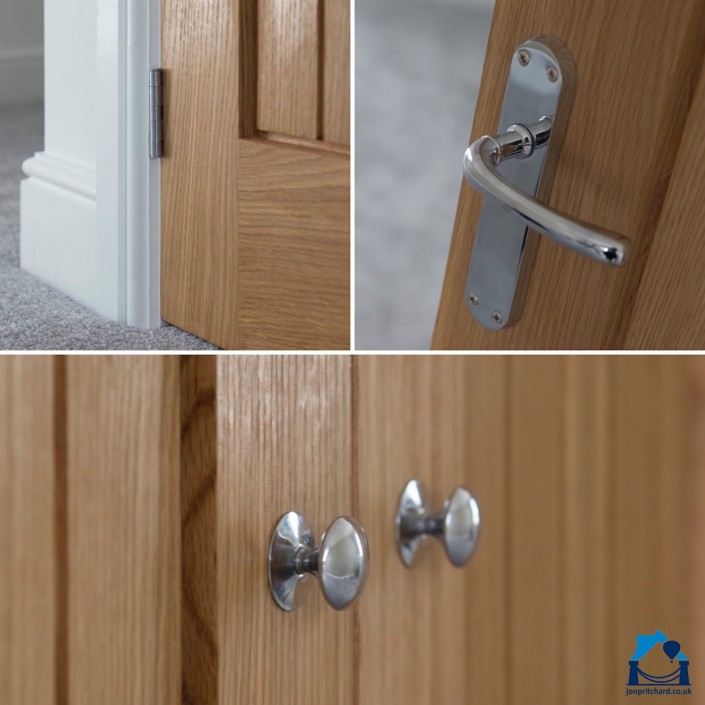 Triptych image, top left featuring a chrome hinge in a modern natural wood door, top right a chrome door handle on same style door, across the bottom an image of simple chrome cupboard door knobs on the same style of door.
