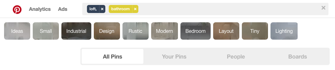 Screen shot of the Search field in Pinterest