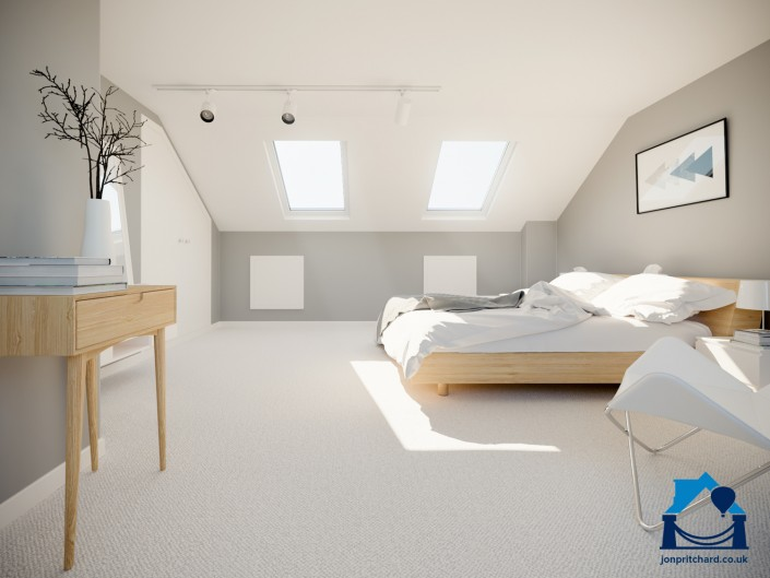 Computer designed illustration of the master bedroom created by extending a terraced home with an l-shaped loft conversion