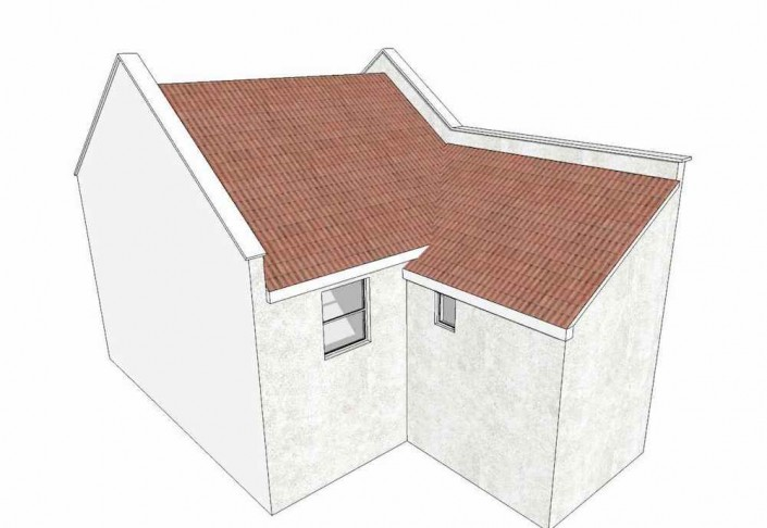 Illustration of the rear roof of a Victorian terraced home with rear extension.