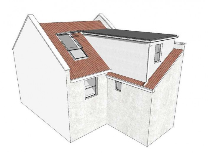 Illustration of the rear of a Victorian terraced home with a rear extension. The illustration shows how the loft can be converted to add a floor to the home, extending over the rear add-on with a flat-roofed dormer, and installing a large Velux window alongside in the remaining rear original roof.