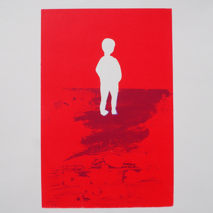 Screen print white silhouette of a child on a red background